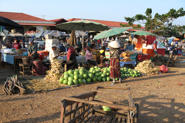 A local market in Pakse