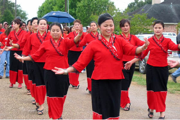 Lanexang Village in traditional clothing, vacation to Laos