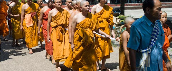 Laos Monks in the dead ceremony