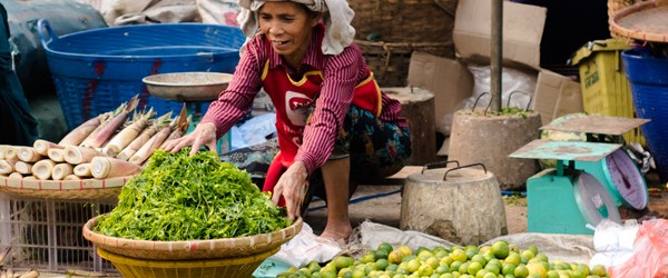 Local woman selling vegetable in Phousi Market