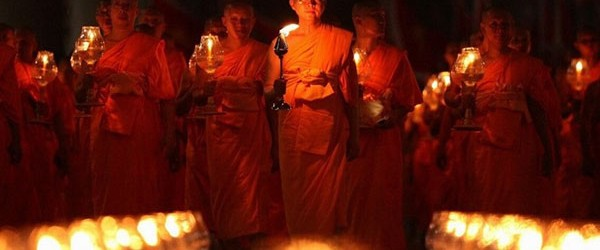 The Laos Monks in candlelit processions during festival