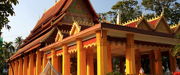 Wat Mixay is one of the many Buddhist temples along Setthathilath Road in Vientiane, Laos