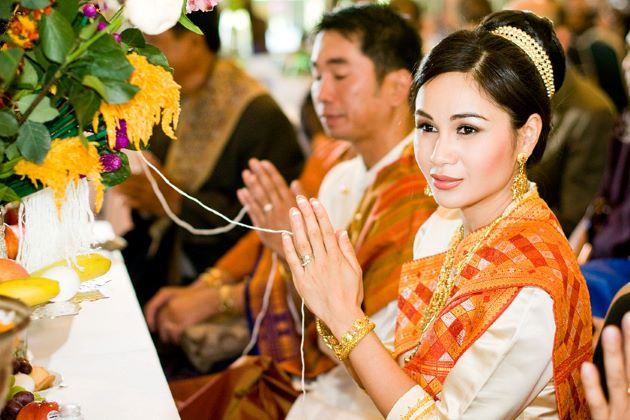 laos traditional dress in wedding ceremony