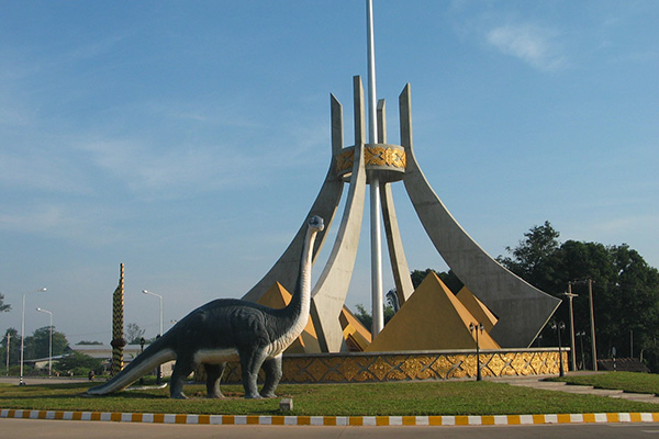 A dinasaur next to the main entrance of Dinosaur Museum Savannakhet attractions