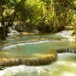 Kuang Si Waterfall at noon
