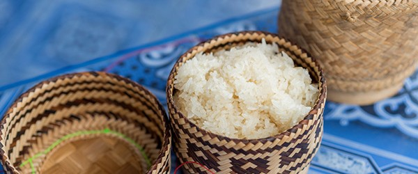 Laotian Sticky Rice in a bamboo basket