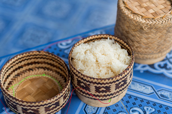 Laos cuisine Sticky Rice in a bamboo basket