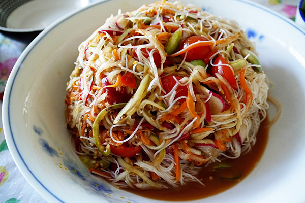 Papaya salad or Tam Mak Houng is very popular in Laos cuisine