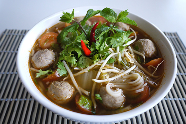 Phor with meatballs and vegetables laotian cuisine