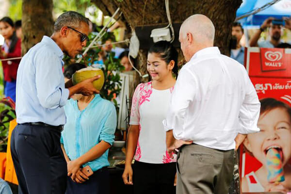President enjoy the coconut laos drinks and beverages