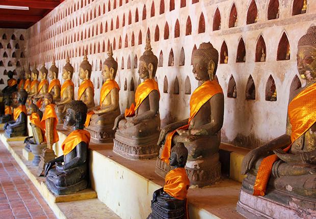 Buddha statues inside Wat Si Saket, Laos Tours