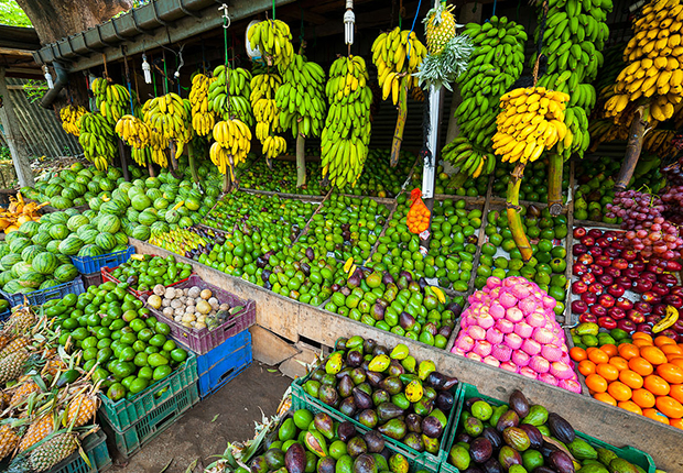 Fresh fruits sold at the market or on the street of Laos