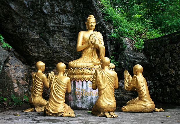 Golden Buddha Statues on Mount Phousi