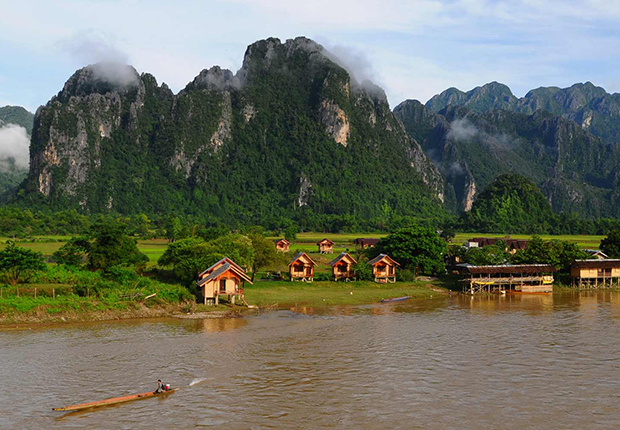 Peaceful Vang Vieng in the afternoon
