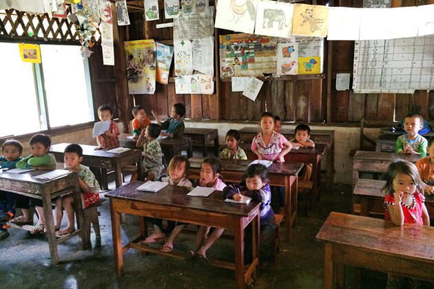 Interact with Laos children, Laos Tour Packages