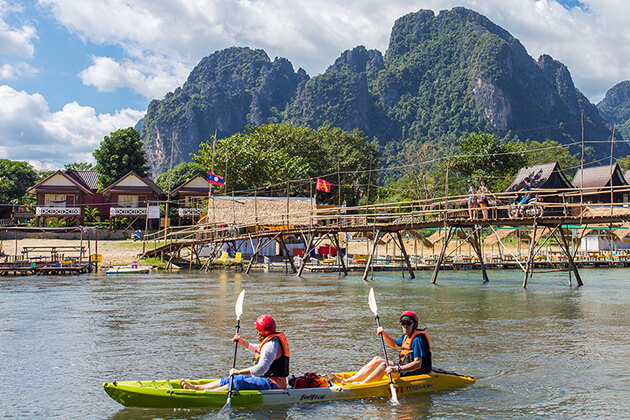 Kayaking in Namsong river, Tour in Laos
