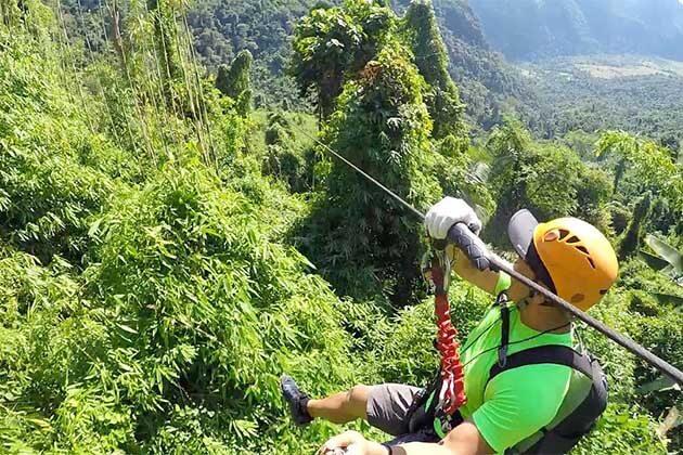 Zipping in Vang Vieng