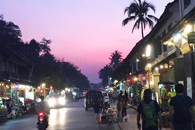 luang Prabang street at night, Laos family tours
