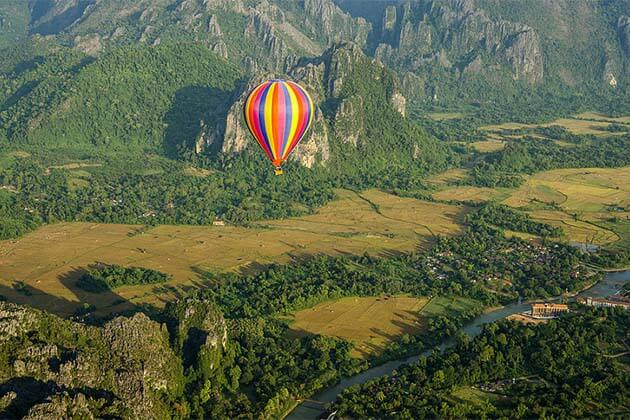 Great Hot air balloon in Vang Vieng, Laos Adventure tour day trips