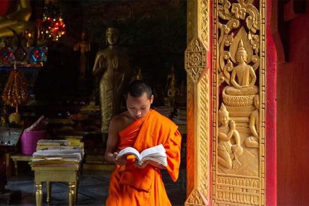 MekonMonk is reading Bhudda experience, Laos luxury tour packagesg Elephant Park Sanctuary