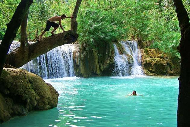 Kuang Si Waterfall in Laos, Laos family tour