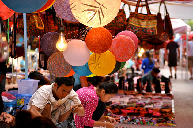 Luang Prabang night market, Laos family vacation packages